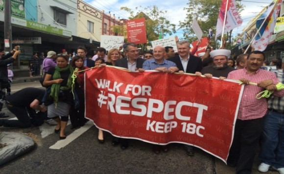 John Robertson marched with multicultural communities in support of Section 18 C