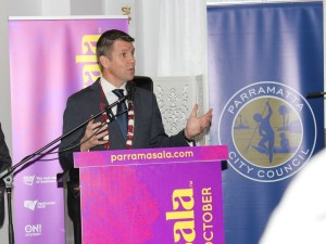 Premier Mike Baird addressing the gathering at the launch of Parramasala 2014