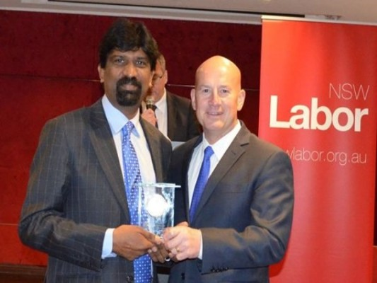 Balaji Venkatarangan receives highest NSW Labor party award
