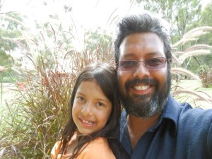 Ridwan Hassim with daughter Yasmeena at Dubbo Zoo