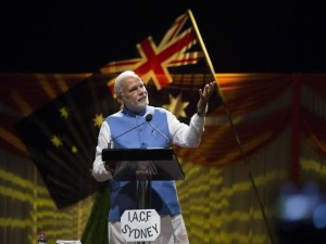 Modi addressing public at Allphones Arena