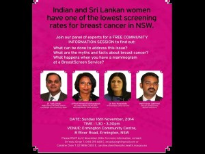 Indian and Sri Lankan women have one of the lowest screening rate for breast cancer in NSW