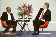 Cricket legends Brian Lara and Glenn McGrath interacts with Indian community